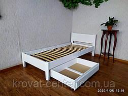 """Белая детская кровать с выдвижным ящиком """"Эконом"""" из дерева, фото 2"""