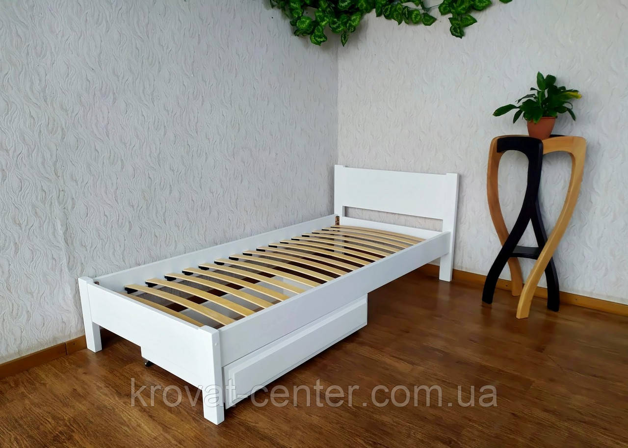 """Белая детская кровать с выдвижным ящиком """"Эконом"""" из дерева"""