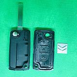 Корпус выкидного ключа для Citroen C1, C2, С3, С4, Jumpy (Ситроен Джампи) 3 - кнопки,  батарейка на плате, фото 2