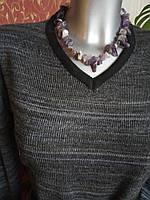 Классическое вязаное шерстяное чёрно-серое меланжевое платье