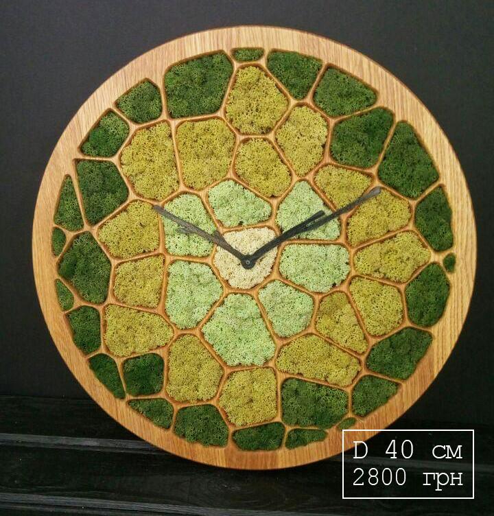 """Часы настенные """"СОТЫ"""" деревянные с мхом диаметр 40 см"""