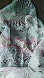 Палантин Гребешок П-00130, розово-серо-голубой, оренбургский шарф (палантин), фото 4