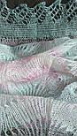 Палантин Гребешок П-00130, розово-серо-голубой, оренбургский шарф (палантин), фото 3