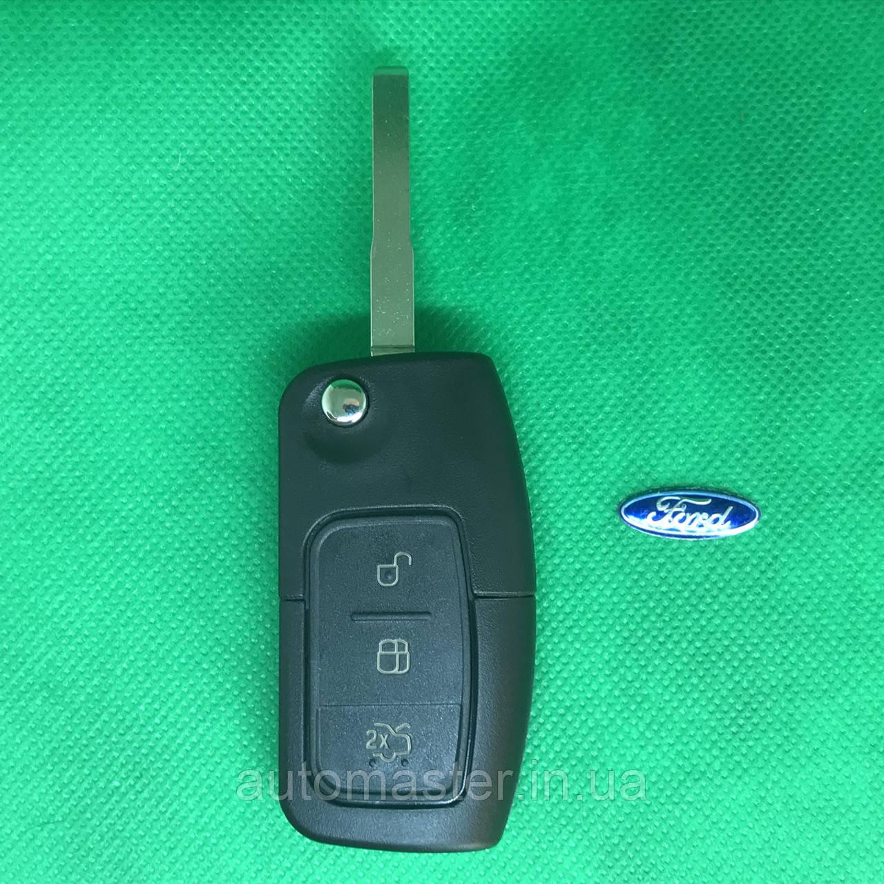 Корпус выкидного ключ для FORD (Форд) Fiesta,Focus ( Фиеста, Фокус ) корпус 3 - кнопки, лезвие HU101