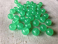 Бусины акриловые Ø 7-8 мм зеленые круглые (50 шт в упаковке), бусина для рукоделия пластик