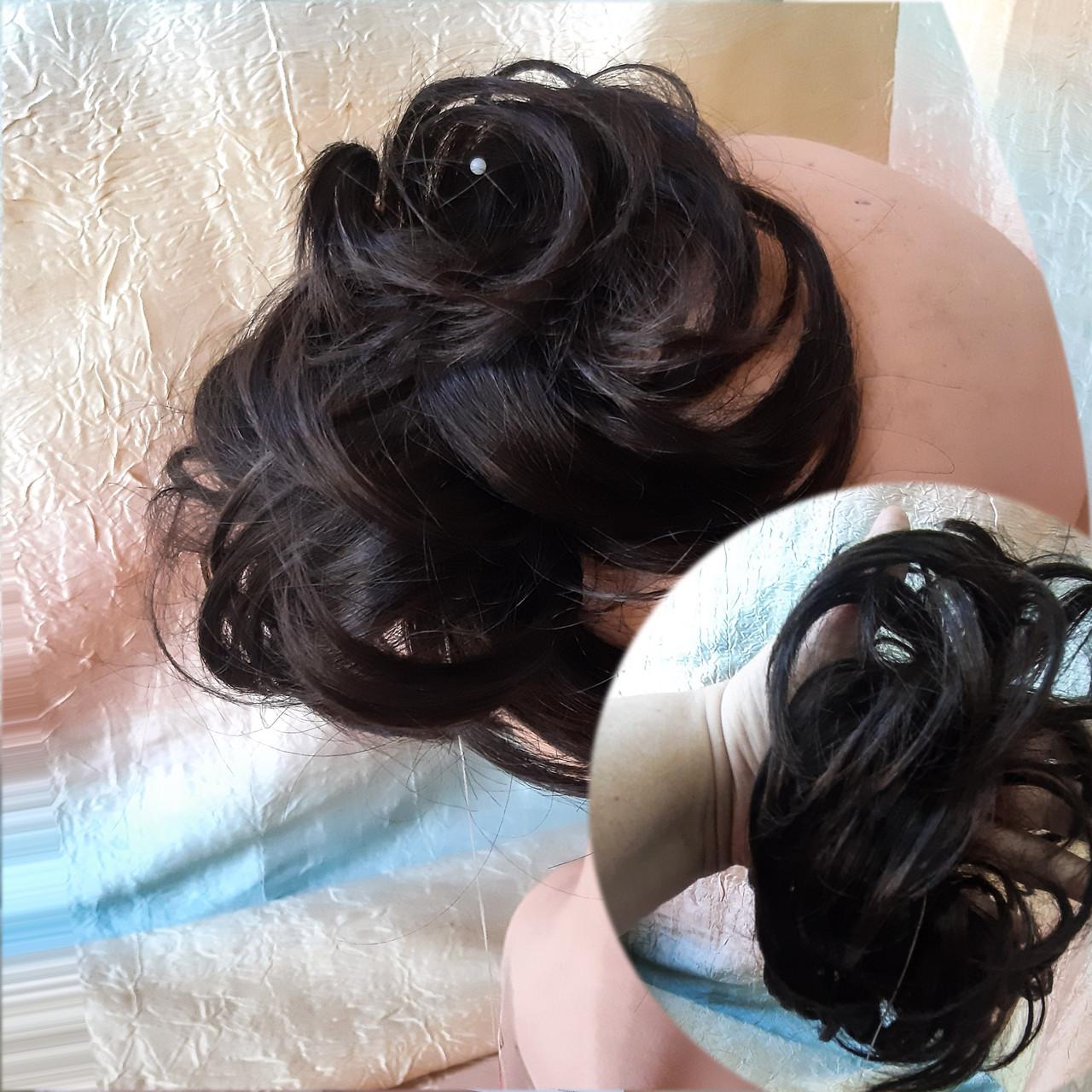 Резинка шиньон из волос темно-шоколадный  0215А-4