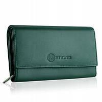 Жіночий шкіряний гаманець Betlewski з RFID 17,5 х 10 х 4 (BPD-SS-12) - зелений, фото 1