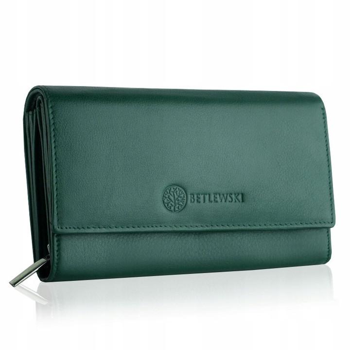Жіночий шкіряний гаманець Betlewski з RFID 17,5 х 10 х 4 (BPD-SS-12) - зелений