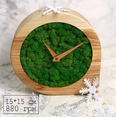 Часы дизайнерские из мхом и дерева (15*15*4 см)