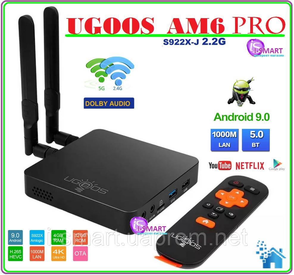 Ugoos AM6 Pro  4 Гб DDR4, 32 Гб ПЗУ, Amlogic S922X Android tv box 2-х процессорный