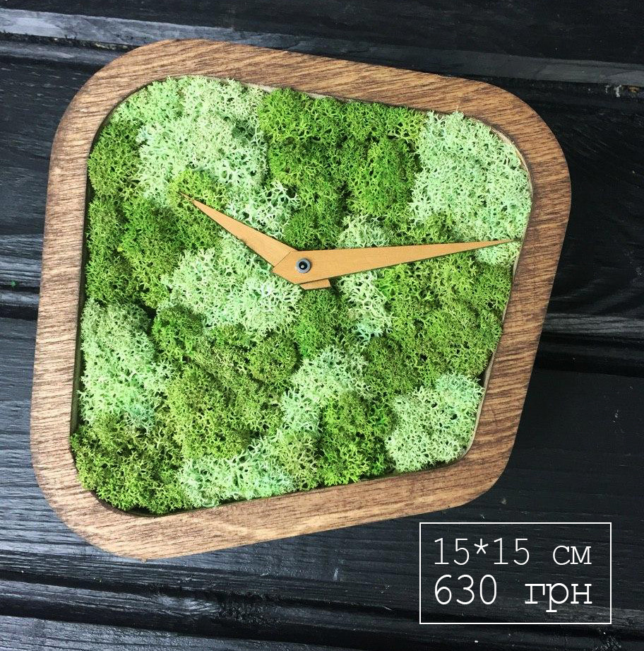 Часы дизайнерские с мхом и фанеры (15*15*4 см)