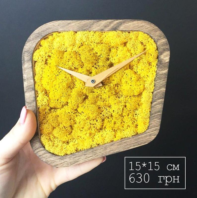 Часы дизайнерские настольные с мхом (15*15*4 см)