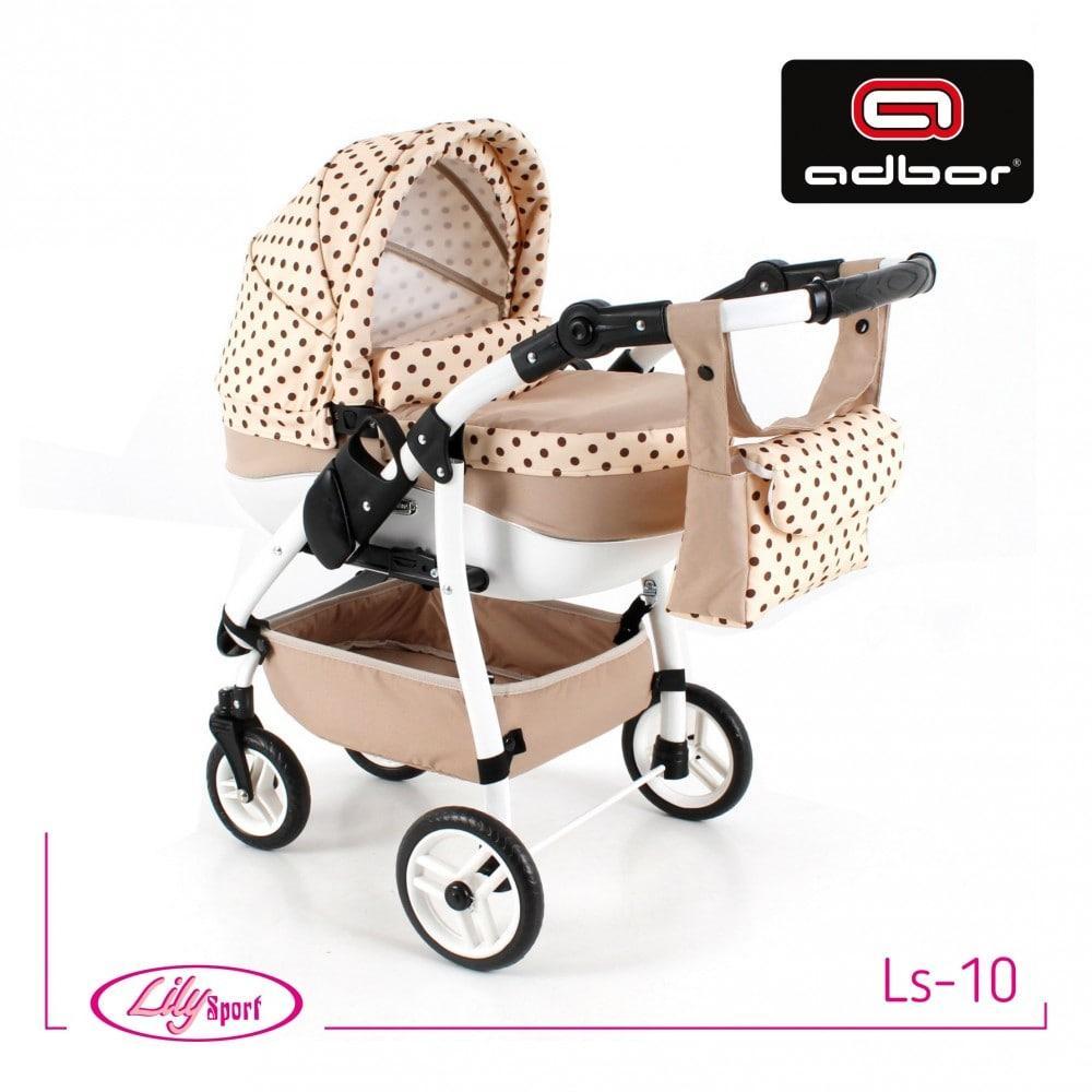 Кукольная коляска LILY SPORT TM Adbor с сумкой в комплекте (Ls-10, кремовый, горошек на кремовом)