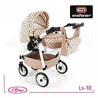 Кукольная коляска LILY SPORT TM Adbor с сумкой в комплекте (Ls-10, кремовый, горошек на кремовом), фото 1