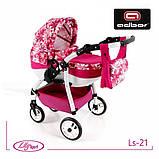 Кукольная коляска LILY SPORT TM Adbor с сумкой в комплекте (Ls-24, розовый, единорожка на сером), фото 4