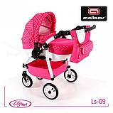 Кукольная коляска LILY SPORT TM Adbor с сумкой в комплекте (Ls-24, розовый, единорожка на сером), фото 5