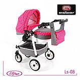 Кукольная коляска LILY SPORT TM Adbor с сумкой в комплекте (Ls-24, розовый, единорожка на сером), фото 7