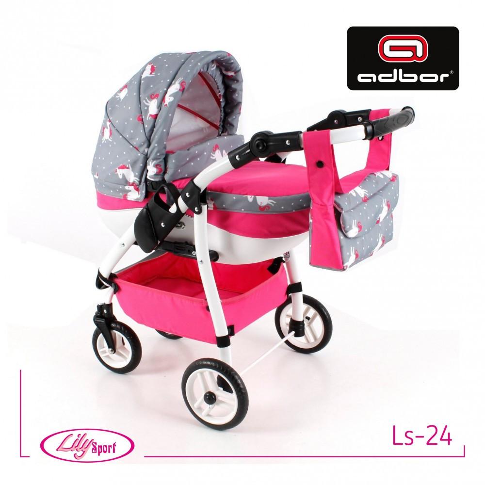 Кукольная коляска LILY SPORT TM Adbor с сумкой в комплекте (Ls-24, розовый, единорожка на сером)