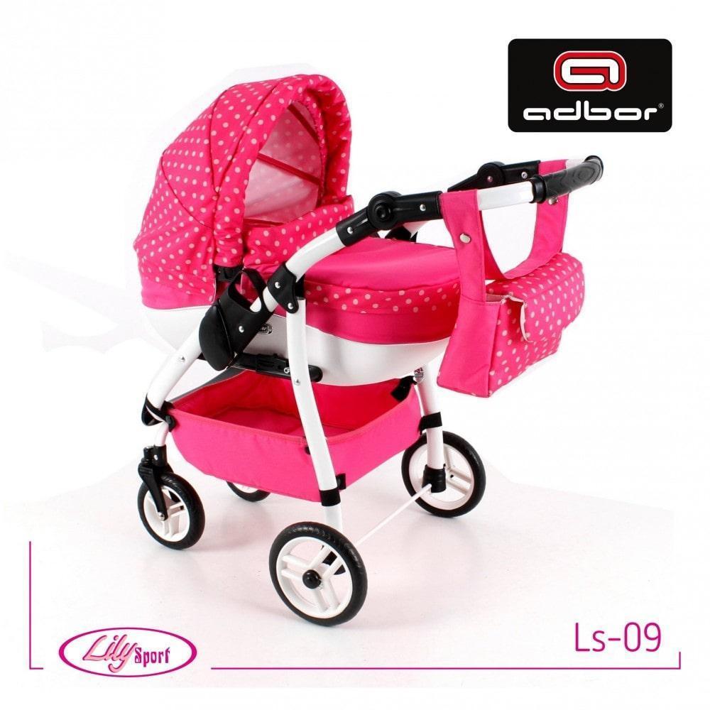 Кукольная коляска LILY SPORT TM Adbor с сумкой в комплекте (Ls-09, розовый, горошек на розовом)