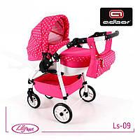 Кукольная коляска LILY SPORT TM Adbor с сумкой в комплекте (Ls-09, розовый, горошек на розовом), фото 1