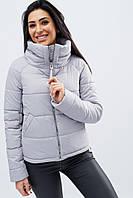 Женская стильная демисезонная куртка на молнии с воротником-стойкой р-р 42-48