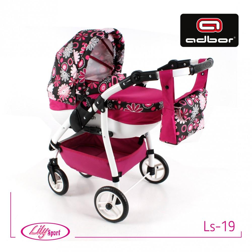 Кукольная коляска LILY SPORT TM Adbor с сумкой в комплекте (Ls-19, малиновый, цветы на черном)