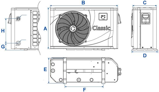 Габаритные размеры тепловых насосов Hayward серии Classic Powerline