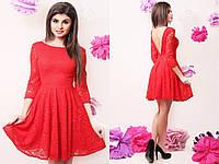 Нарядное короткое гипюровое платье с пышной юбкой и открытой спинкой. Арт-4058/58, фото 1