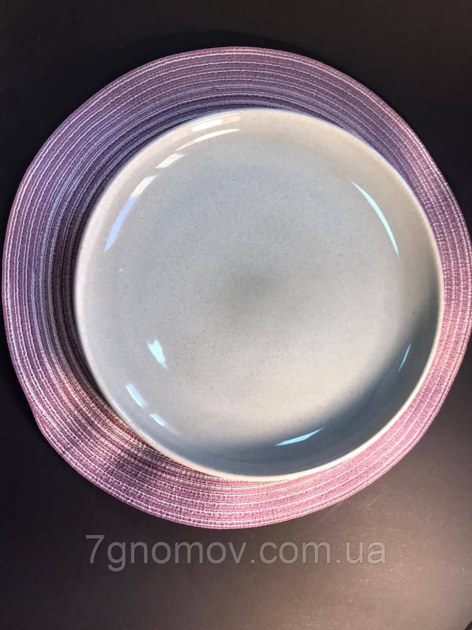 Тарелка большая обеденная керамическая бежево-серая Мрамор 28.5 см арт. 7953-11
