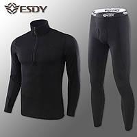 """🔥 Комплект термобелья """"Esdy. Level-2"""" (черный) (флисовое зимнее тактическое для спорта)"""