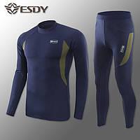 """🔥 Комплект термобелья """"Esdy. Level-1"""" (синий) (флисовое термо-белье зимнее для спорта)"""