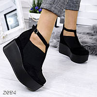 Черные туфли на платформе с ремешком, эко замша 36-39р