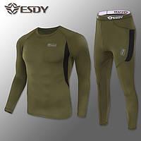 """🔥 Комплект термобелья """"Esdy. Level-1"""" (олива) (флисовое термо-белье зимнее тактическое)"""