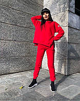 Женский зимний теплый спортивный костюм на флисе черный красный серый бежевый S-M M-L