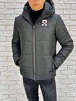 Мужская зимняя теплая куртка нейлон холлофайбер черная 46 48 50 52