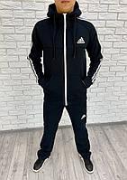 Мужской спортивный костюм на молнии с начесом темно-синий 46 48 50 52