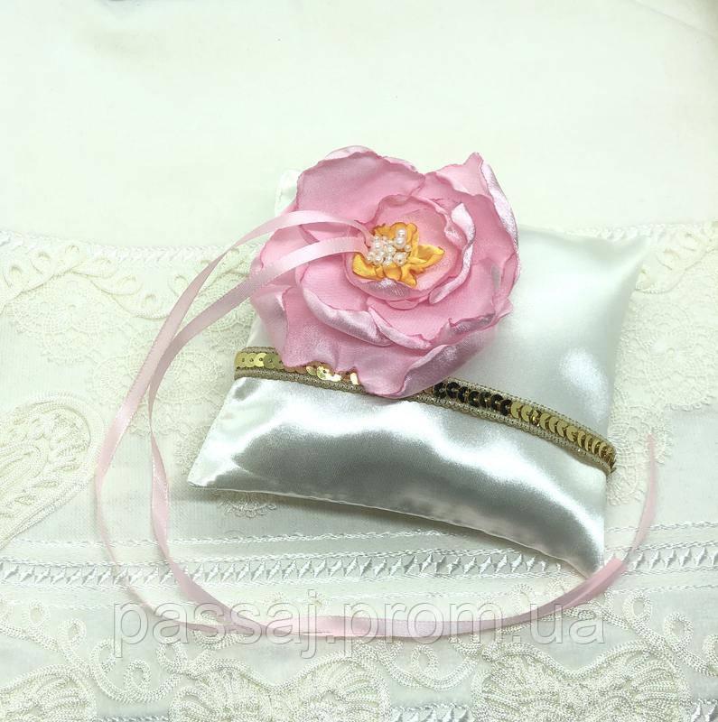 Новая атласная подушка для обручальных колец с цветком