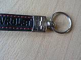 Брелок хлястик Chevrolet 110мм черный красная нить под кожу Уценка точка на авто ключи эмблема Шевролет, фото 4