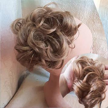 Резинка шиньон из волос медно-песочный 0215V-19