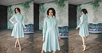 Красивое платье с имитацией шифоновой блузы и расклешенной юбкой со встречными складками. Арт-7003/58, фото 1