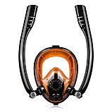 Маска для плавания и снорклинга с дыханием через нос с  двумя трубками (542187845), фото 3