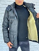 Мужская зимняя теплая куртка плащевка на синтепоне черная 46 48 50 52