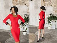 Красное элегантное облегающее платье с контрастными черными вставками. Арт-7004/58, фото 1