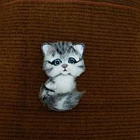 """Брошь из шерсти """"Серый котенок"""", фото 1"""
