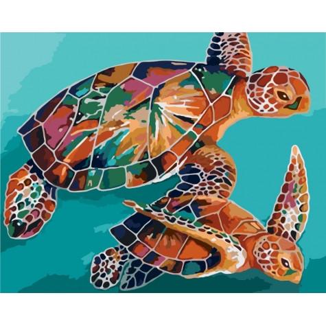 Набор для раскрашивания картин по номерам Черепахи ТМ Идейка 40 х 50 КНО2455