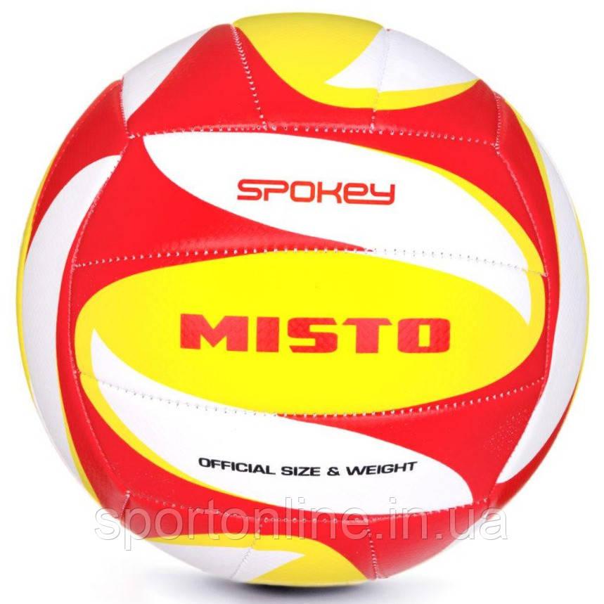 Волейбольний м'яч Spokey Misto розмір №5, білий з червоно-жовтим малюнком