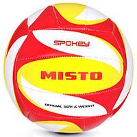 Волейбольний м'яч Spokey Misto розмір №5, білий з червоно-жовтим малюнком, фото 1