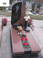 Елітний пам'ятник з червоного та чорного граніту з поличкою та вазою