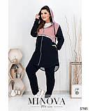 Спортивний костюм жіночий з подовженою кофтою Турецька двонитка та сітка Розмір 50 52 54 56 58 60 62 64, фото 7