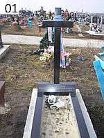 Одинарный памятник крест клееный из гранита